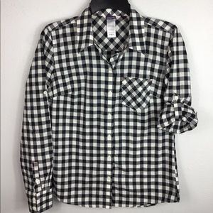 Women's Patagonia Black Gingham Button up Size 2